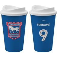 Personalised Ipswich Town FC Back Of Shirt 350ml Reusable Tea / Coffee Cup