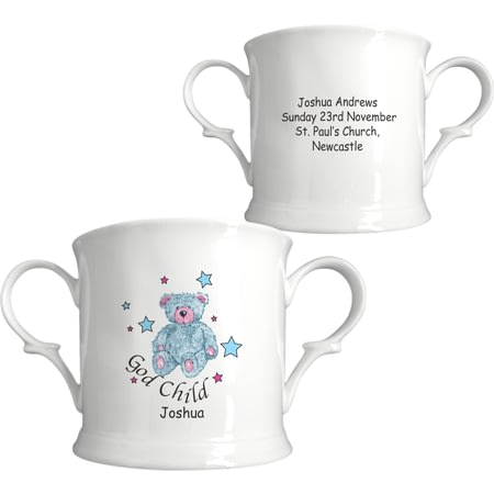 Personalised Teddy & Stars Blue Godchild China Loving Cup