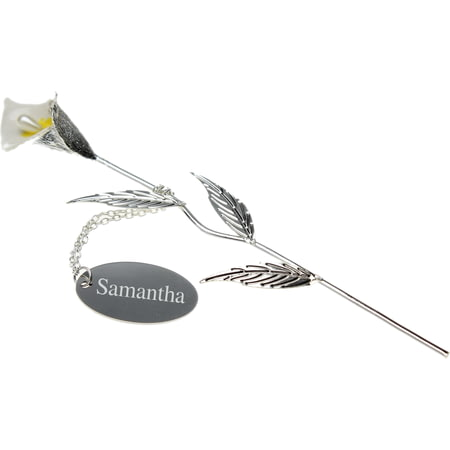 Personalised Engraved Silver Plated Calla Lily - 18cm