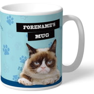 Personalised Grumpy Cat - Grumpy Is My Job Blue Mug
