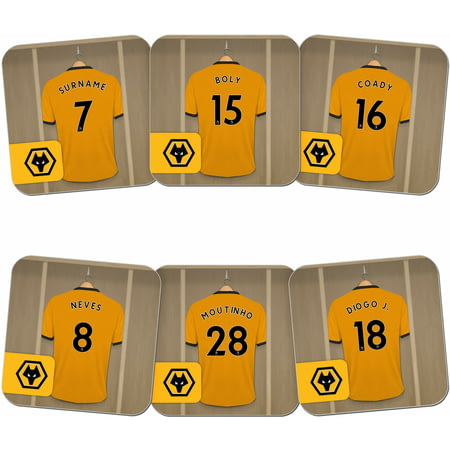 Personalised Wolves Dressing Room Shirts Coasters Set of 6