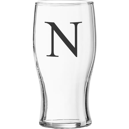 Personalised Black Monogram Beer Pint Glass