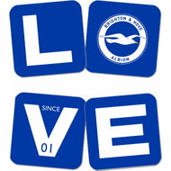 Personalised Brighton & Hove Albion FC Love Coasters (x4)