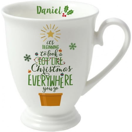 Personalised It's Beginning To Look A Lot Like Christmas Marquee Ceramic Mug