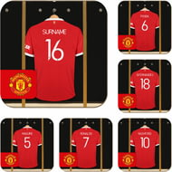 Personalised Manchester United FC Dressing Room Shirts Coasters Set of 6