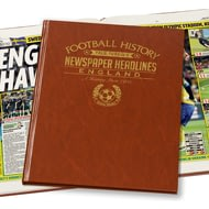 Personalised England Football Newspaper Book - Leatherette Cover