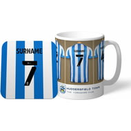 Personalised Huddersfield Town AFC Dressing Room Shirts Mug & Coaster Set