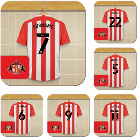 Personalised Sunderland AFC Dressing Room Shirts Coasters Set of 6