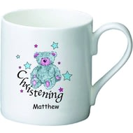 Personalised Teddy & Stars Blue Christening Ceramic Mug