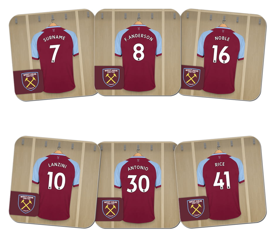 buy popular 6fe78 caf75 Personalised West Ham United FC Dressing Room Shirts Coasters Set of 6