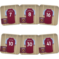 Personalised West Ham United FC Dressing Room Shirts Coasters Set of 6