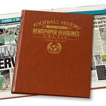 Personalised Celtic Football Newspaper Book - Brown Leatherette