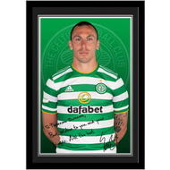 Personalised Celtic FC Brown Autograph Photo Framed