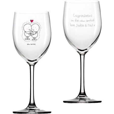 Personalised Chilli & Bubbles New Baby Wine Glass