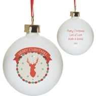 Personalised Merry Christmas Stag Bone China Bauble