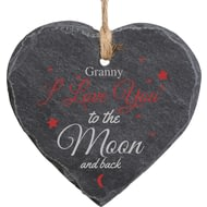 Personalised To The Moon And Back Printed Slate Heart