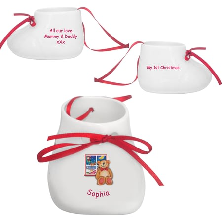 Personalised Teddy & Window Bone China Bootie