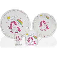 Personalised Unicorn 4 Piece Ceramic 4 Piece Breakfast Set