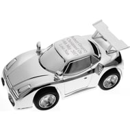 Personalised Engraved Silver Racing Car Money Box