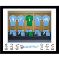 Personalised Manchester City FC Goalkeeper Dressing Room Shirts Framed Print