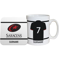 Personalised Saracens Shirt Mug & Coaster Set