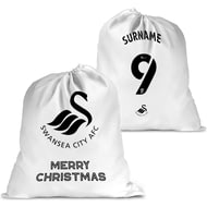 Personalised Swansea City AFC Back Of Shirt Santa Sack