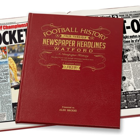 Personalised Watford Football Newspaper Book - Leather Cover