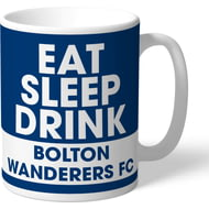 Personalised Bolton Wanderers FC Eat Sleep Drink Mug