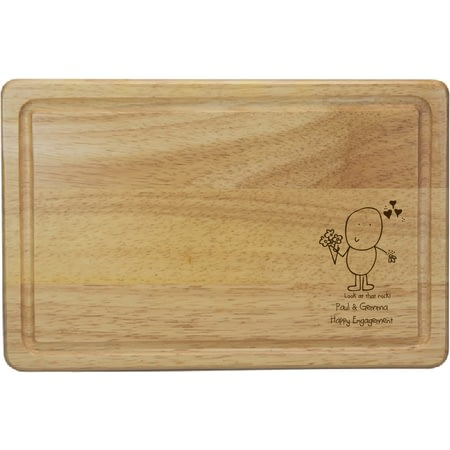 Personalised Chilli & Bubble's Engagement Rectangle Wooden Chopping Board