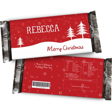 Personalised Christmas Chocolate Bar - Snowy Trees