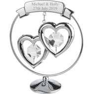 Personalised Engraved Crystocraft Clear Double Hanging Hearts Ornament