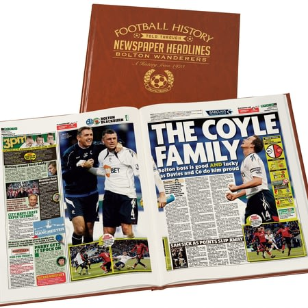 Personalised Bolton Football Newspaper Book - Leatherette Cover