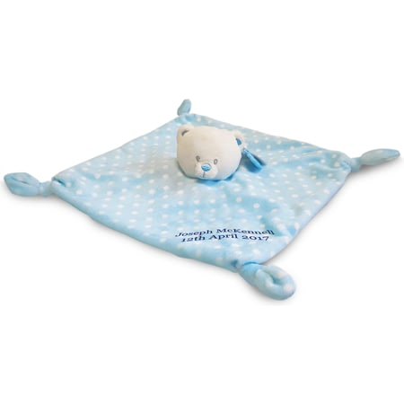Personalised 28cm Blue Bear Baby's First Comforter