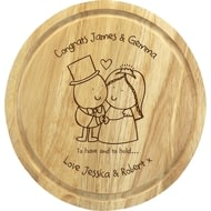 Personalised Chilli & Bubble's To Have & To Hold Round Chopping Board