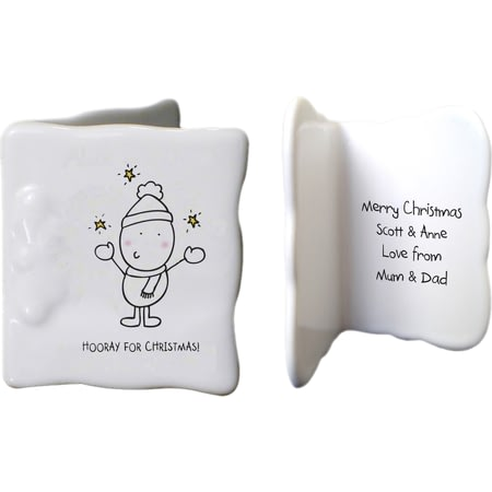 Personalised Chilli & Bubbles Generic Christmas Ceramic Message Card