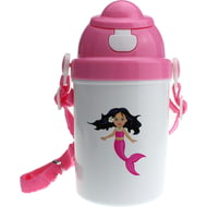 Personalised Mermaid Girls Pink Plastic Drinking Bottle With Popup Lid and Straw