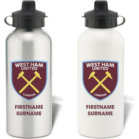 Personalised West Ham United FC Bold Crest Aluminium Sports Water Bottle