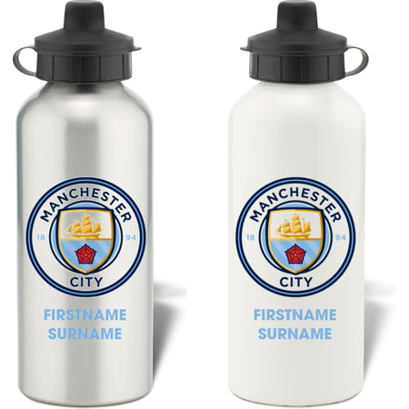 Personalised Manchester City FC Bold Crest Aluminium Sports Water Bottle
