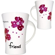 Personalised Pink Pansies Friend Twist Handle Ceramic Mug