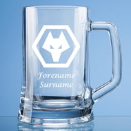 Personalised Wolverhampton Wanderers FC Wolves Crest Stern Glass Pint Tankard