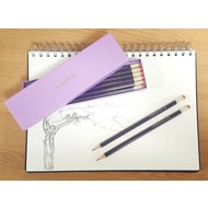 Personalised 12 Purple Pencils In A Purple Box