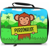 Personalised Kids Monkey Insulated Lunch Bag