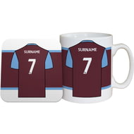 Personalised West Ham United FC Shirt Mug & Coaster Set
