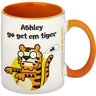 Personalised Go Get Em Orange Inside Mug