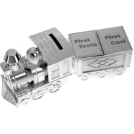 Personalised Silver Plated Train Money Box with Tooth & Curl Trinket Box