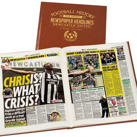 Personalised Newcastle United Football Newspaper Book - Leatherette Cover