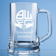 Personalised Bolton Wanderers FC Crest Stern Glass Pint Tankard
