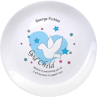 "Personalised Dove & Hearts Blue Godchild 8"" Bone China Coupe Plate"