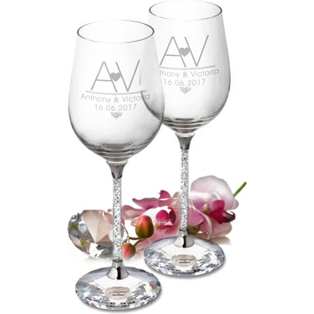 Personalised Initial Heart Diamante Wine Glasses