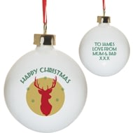 Personalised Mustard Stag Bone China Christmas Tree Bauble